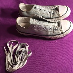 Converse Shoes - Converse Silver sparkly low tops Sz2